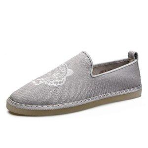 2020 nouvelle Chanvre Espadrilles Hommes Tiger Broderie Chaussures fourreau Mocassins plat main pêcheur Chaussures de toile Sneakercf0c #