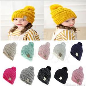 11 цвета детской шлет сплошного цвета детской тканого крючка шлем младенец девушки способа мальчика зима теплой шапка аксессуары DC912