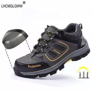 Wilderness Survival Safety Toe Shoes en acier mi-plaque en acier anti-dérapant Anti-fracassant bottes de travail Respirant travail Hommes