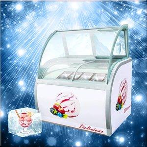 220 V Une large sélection de l'affichage à la crème glacée dure commerciale 180W vitrine de la crème glacée 8 barils / 10 boîtes / feuilles acryliques