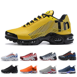 Air TN Femmes Hommes Course Athlétique Chaussures Multicolore Jaune Olive Noir Blanc Orange Bleu Gris En Plein Air Baskets Coussin Sport Unisexe Sneakers