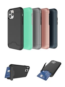 For iPhone 11 Pro Max XR XS MAX 6 7 8plus Card Slot Case Armor Case Hard Shell Back Cover Shockproof With Kickstand Case