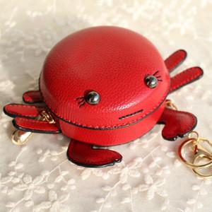 Mini caja dominante Monedero llavero del coche de la nueva marca linda divertida del cangrejo de cuero de la PU Monedero llavero colgante del bolso de las mujeres Mochila encanto