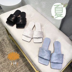 2020 new knitted flat slippers women sexy open toe leather weaving flip flops light blue summer slides shoes woman