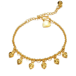 Heart Anklet Summer Beach Chain 18k Yellow Gold Filled Charm Womens Foot Chain Gift
