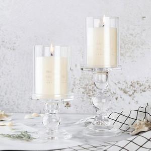 """3.46 / 4.52 / 5.51 Portatori in vetro candela per 3 \ """"candela della colonna e 3/4 \"""" Taper Candela della decorazione della casa Candeliere XD23138"""