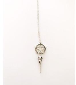 Silber Pentagramm Crow Skull Bird Halskette Anhänger Anweisung Gothic Choker Halskette für Damen Schmuck Halloween Geschenk NEU