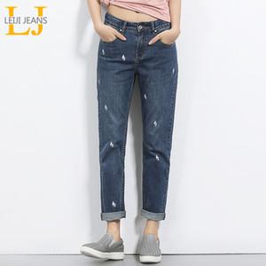 2018 LEIJIJEANS printemps et d'été Taille Plus Lightening Imprimé mi taille Cadrage en mode en vrac Denim Jeans Boyfriend