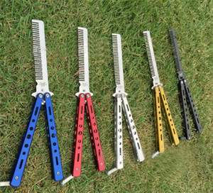 Moda Hot delicado Pro Salon inoxidável Formação Folding Aço borboleta Prática estilo faca ferramenta Comb