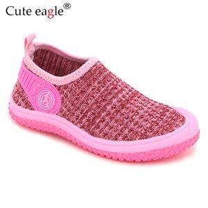 Cute Eagle 2019 Marca Otoño Camuflaje de Punto Zapatos de Niñas Pequeñas Suave Zapatos Niños Niños antideslizantes Niños Casual Zapatos de Playa Y19062001