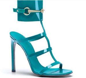 2020 Sommer Frauen Metall Pailletten Sandalen sexy Knöchelriemen Gladiator-Sandalen dünne Ferse schneidet Schnalle hohe Absätze Leder-Parteischuhe Kleid