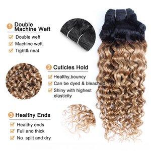 C 1b 27 Ombre Honey Blonde Peruvian Water Wave Curly Hair Weave Bundles Two Tone 1 Bundles 10 -24 Inch Brazilian Malaysian Human Hair E