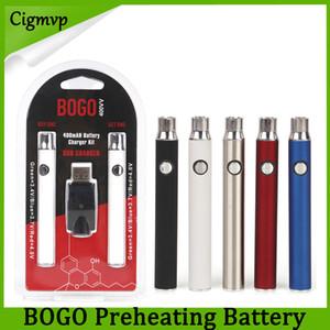 BOGO Двойное зарядное устройство 400 мАч Электронные сигаретные батареи Vape Pen Напряжение подогрева Регулируемая батарея 4 цвета для густого масляного картриджа