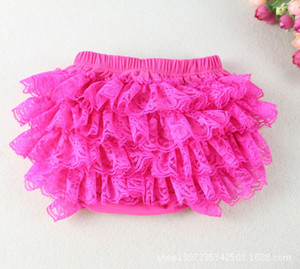 Baby Solid Color Lace Ruffles Shorts Infant Girls Cotton Bloomers Kids Diaper Covers Climb Underwear Cloth 3Sizes 30pcs lot EMS