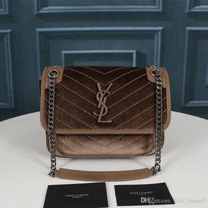2020 дизайнерская роскошная сумочка дизайнерская сумка женская сумка металлическая цепь бархат и воловья кисточка украшения модель: 262150-0 A127