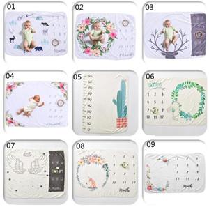 9 estilos INS bebé blanco fotográfico Atrezzo paño grueso y suave del bebé Milestone Mantas Cartas de flores Animales Imprimir Mantas fotográficos