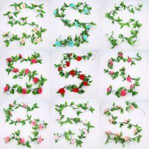 인공 실크 장미 240CM 9 헤드 로즈 아이비 장미 매달려 장미 덩굴 잎 화환 웨딩 홈 장식 식물