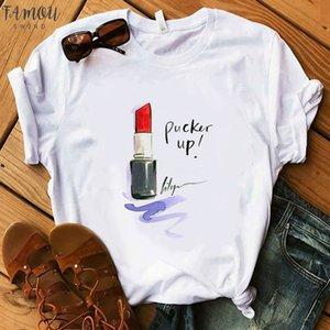 2020 Summer Women T Shirt Make Up Collection Lipstick Party T Shirt Lady Harajuku Tshirt Women Hipster T Shirts