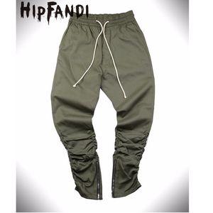 HIPFANDI Justin Bieber Stile Side Zipper uomini dimagriscono casuale Hip Hop Mens Jogger motociclista pantaloni Swag Sweatpants Magro TrousersMX190902