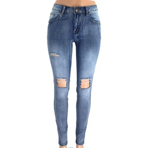 Las mujeres atractivas agujero Denim Jeans Moda delgado del lápiz pantalones largos pantalones de los pantalones de la cremallera hembra jeans sólidas