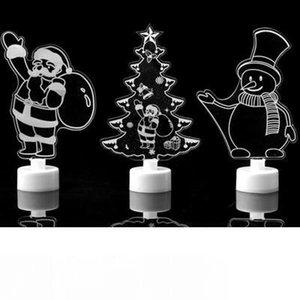 Regalos 3D LED noche enciende la lámpara de la decoración del dormitorio de Santa Claus muñeco de nieve Toalla banquete de boda del árbol de navidad de la luz del flash