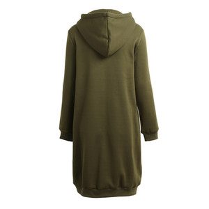 Wholesale-Romacci Plus Size Hooded Coat Female Fashion Women Hoodies Long Sweatshirts Winter Casual Pockets Zipper Solid Outerwear Jacket