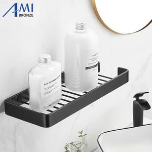 / plata de aluminio del espacio estantes de baño negro de un solo nivel Shelf Champú estante de la cocina Cuarto de baño estante
