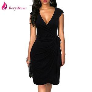 Berydress clássico elegante vestido de bolinhas drapejado Mulheres Vestidos Cocktail Party Midi Preto Verão Bodycon falso Enrole Vestidos 2018 Y200418