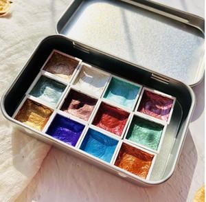 Handmade 12Color Glitter Water Color Set Acuarelas Metallic Gold aquarela Pigment Paint Artist Painting Watercolors Art Supplies