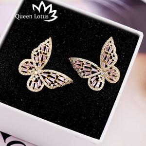 Königin Lotus Vintage Schmetterlings-Ohrringe für Frauen Cubic Ohrringe Schmuck Silber Ohrringe baumeln