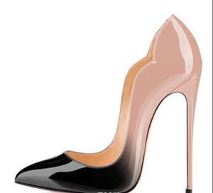 New extreme Red Bottom zapatos de tacones altos para mujer 12cm zapatos de fiesta tacones finos zapatos de mujer sin cordones más tamaño amarillo azul púrpura cust # 9025