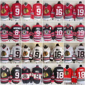 Nuevo 10 Patrick Sharp jerseys 16 Brett Hull Hombres Chicago Blackhawks 8 9 Bill Mosienko casco de Bobby 18 Denis Savard 19 Jonathan Toews CCM de la vendimia