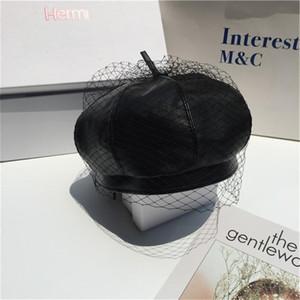 Frauen-Kopf-Accessoires aus massivem Beanies Berets Caps PU-Leder Hüte Lady Herbst-Winter-Schädel-Hut Mützen Bonnet mit Schleier Mesh-Caps