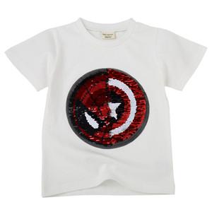t-shirt été nouveau visage de changement de couleur de flipping style vibrato coton femme garçon trésor enfants à manches courtes talonnage