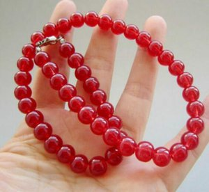"PRETTY 8MM SMOOTH RED JADE GEMSTONE ROUND قلادة من الخرز 18 ""AAA"