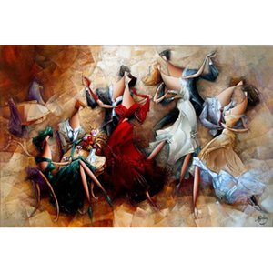 Canvas art oil Paintings Dance Party Hand painted modern abstract artwork for bedroom decor