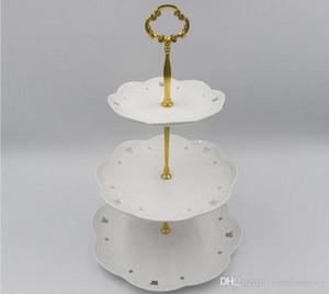 1/2 / 3Tier الفولاذ المقاوم للصدأ جولة حامل الكب كيك الزفاف كعكة عيد ميلاد حامل العرض أدوات برج مطبخ (لا يتم تضمينه لوحات)
