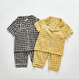 BINIDUCKLING 인과 소프트 여름 아기 소년 소녀 잠옷 세트 격자 무늬 패턴면 유아 아동 어린이 잠옷 세트 짧은 소매