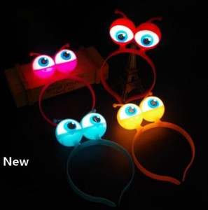 LED Flashing Alien Headband Light-Up Hair Band Glow Party Supplies led Accessories LED Headdress Accessories Head Hoop Children toy KKA6323