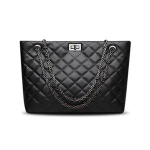 Designer-Luxury 2019 Mfdt Tote Female For Leather Designer Channel Large Should Women Handbags Crossbody Plaid Women Bags Cq Black Mess Aohu