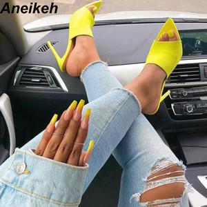 Aneikeh 2019 Sommer Neue Schuhe Frau Fluorescent Green Slip On Fashion Sandalen Pantoletten Glitter Peep Toe Rutschen High Heel Hausschuhe MX190727