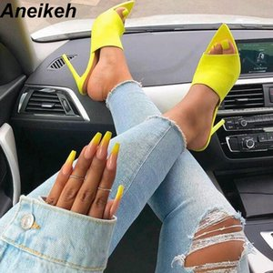 Aneikeh 2019 Summer New Shoes Woman Fluorescent Green Slip On Fashion Sandals Mules Glitter Peep Toe Slides High Heel Slippers MX190727