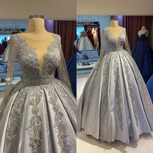 2020 Plus Size Arabic Aso Ebi Silver Luxurious Sexy Wedding Dresses Lace Beaded Satin Bridal Dresses Sheer Neck Wedding Gowns ZJ366