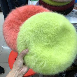 Yetişkin Düz Renkler Moda Lady Cap Kadınlar Örgü Şapka moda Beret için Yeni Moda yüksek kaliteli Tavşan Kürk Kış Bere Şapka