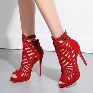 SARAIRIS Peep Toe Buckle Zipepr High Heels Sandalen Women Solide aushöhlen Sandalen Damen-Partei Prom Schuhe T12