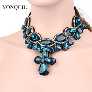 Trendy Bohemian Kolye yanlış yaka altın gümüş Moda Zarif Kristal Kadınlar Zincir Bildirimi kısa collier Takı SYBC43