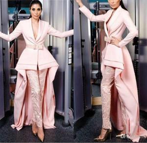 2019 Elegante Rosa Vestidos de Noite Com Calças V Pescoço Alta Baixa OL Macacões Vestidos de Baile Rendas Terno Formal de Cetim Vestidos de Festa de Charme