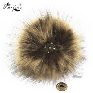 Composants Fabrication de bijoux Bijoux Faits Furling 1pc Fluffy fausse fourrure 11cm Pom Pom boule avec Appuyez sur le bouton pour le bébé Pompons