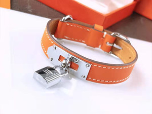 Мода браслет-манжета для мужчин и женщин роскошные дизайнерские ювелирные изделия женский браслет из нержавеющей стали металлические замки кожаный браслет