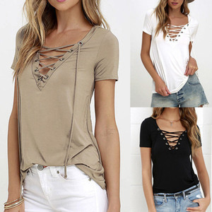 5XL 2020 Summer Fashion Women T-shirts Short Sleeve Sexy Deep V Neck Bandage Shirts Women Lace Up Tops Tees T Shirt plus size